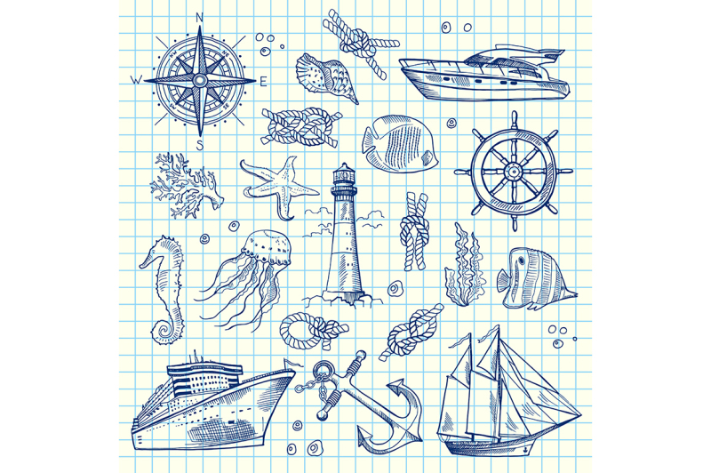 vector-sketched-sea-elements-on-notebook-cell-sheet