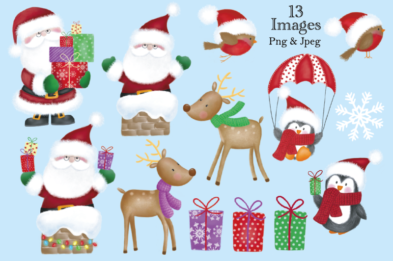 Christmas Clipart Christmas Graphics Illustrations Santa By Jo