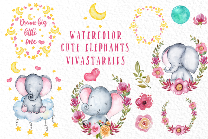 Cute Elephant Clipart Watercolor Animals Baby Shower Clipart By