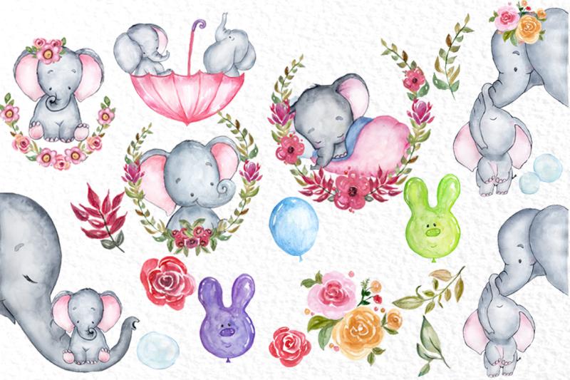 cute-elephants-clipart-watercolour-animals-baby-shower
