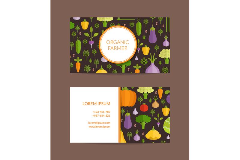 vector-flat-vegetables-organic-farm-vegan-healthy-food-business-card