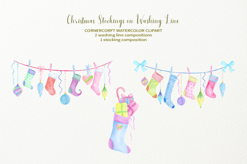 hand-painted-watercolor-christmas-stockings-on-washing-line
