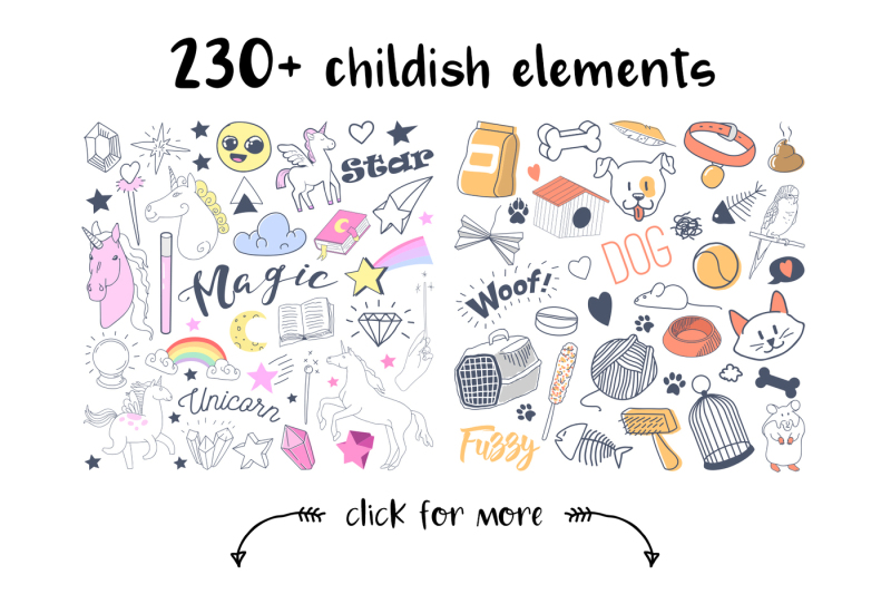 childish-style-elements-clipart