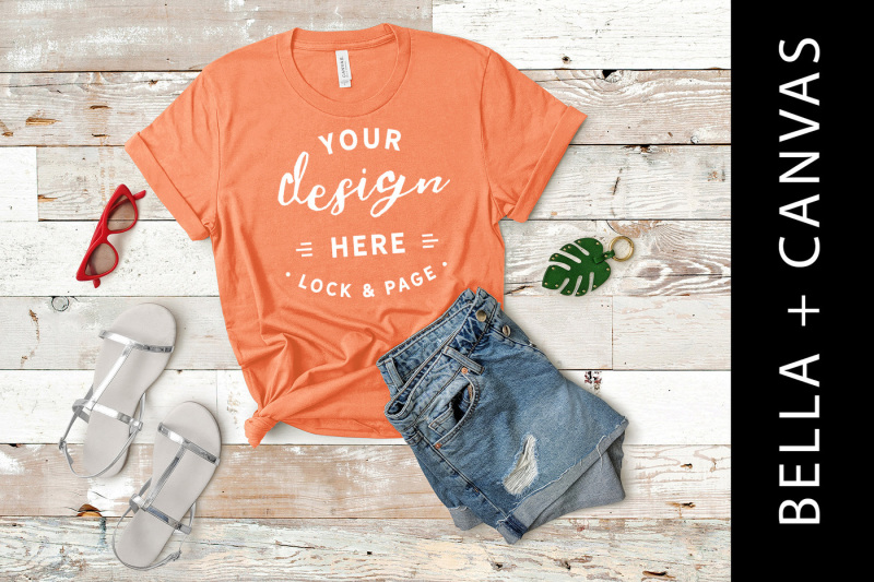 coral-bella-canvas-3001-women-s-t-shirt-mockup-fashion-flat-lay