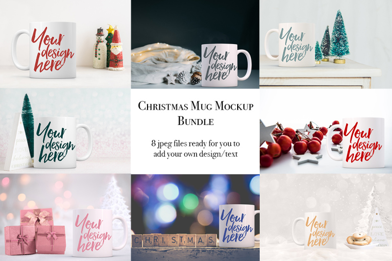 Free Christmas mug bundle - 8 mockups (PSD Mockups)