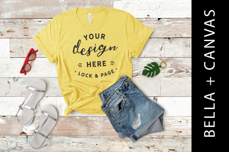 Free Maize Yellow Mockup Bella Canvas 3001 T Shirt Flat Lay (PSD Mockups)