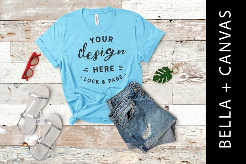 Free Aqua Bella Canvas 3001 T-Shirt Mockup Flat Lay (PSD Mockups)