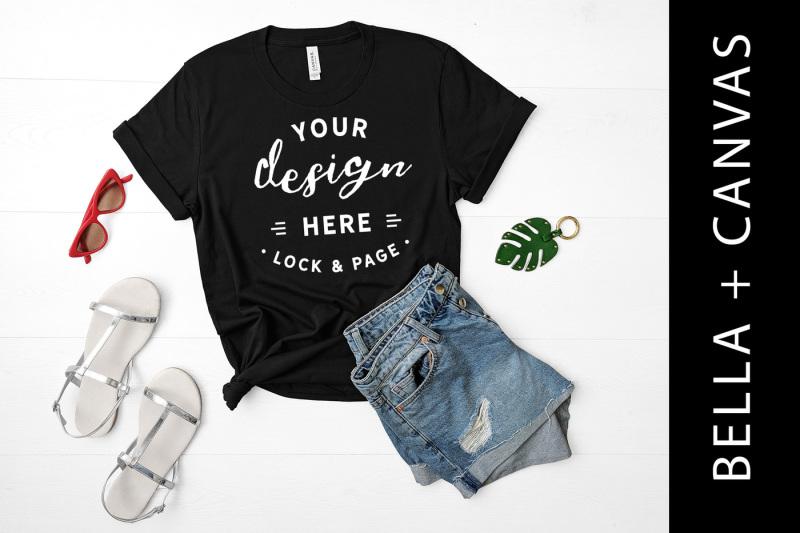Free Black Bella Canvas 3001 T Shirt Mockup Ladies Fashion Flat Lay (PSD Mockups)