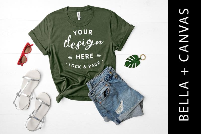 Free Military Green T Shirt Mockup Bella Canvas 3001 TShirt Mock Up (PSD Mockups)