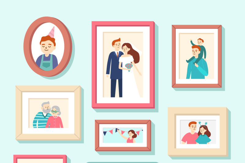 family-members-portraits-wedding-photo-in-frame-couple-portrait-smi