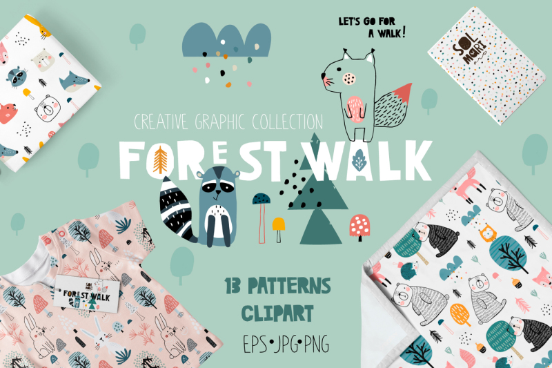forest-walk-creative-graphic-set