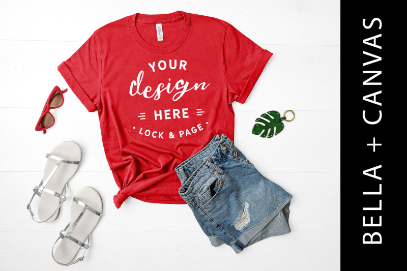 Free Red Shirt Mockup Bella Canvas 3001 Feminine Flat Lay (PSD Mockups)