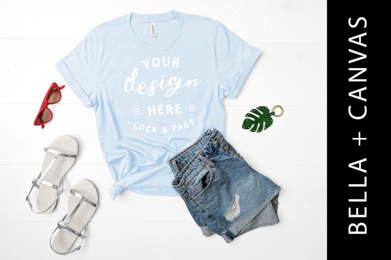 Free Light Blue Bella Canvas 3001 T-Shirt Mockup Shirt Flat Lay (PSD Mockups)