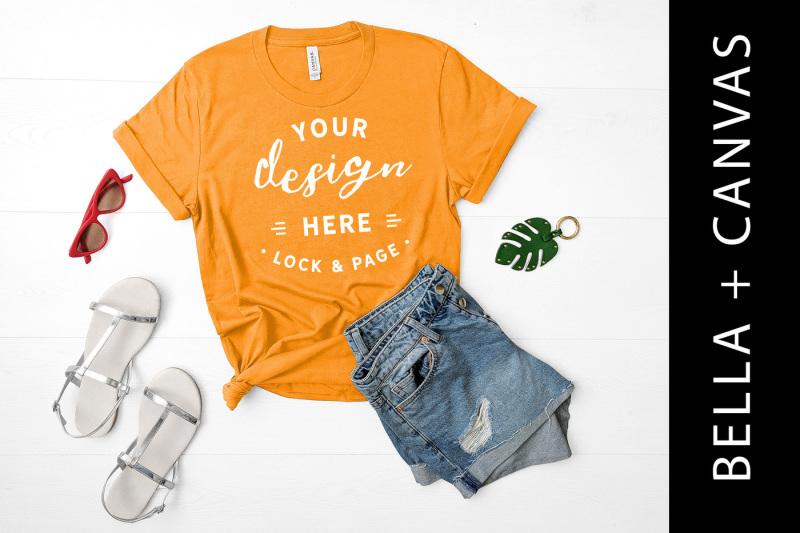 Free Burnt Orange T-Shirt Mockup Bella Canvas 3001 (PSD Mockups)