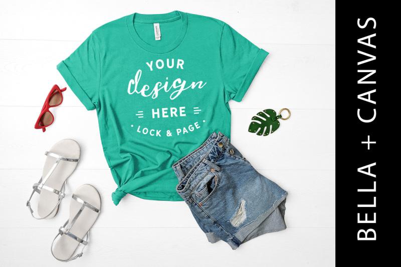 Free Kelly Bella Canvas 3001 T-Shirt Mockup Clothing Flat Lay (PSD Mockups)