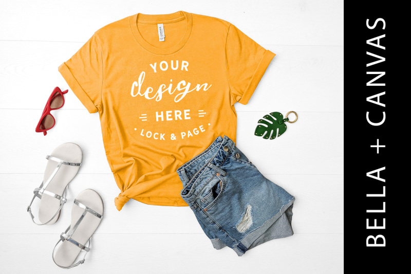 gold-bella-canvas-3001-t-shirt-mockup-lifestyle-flat-lay