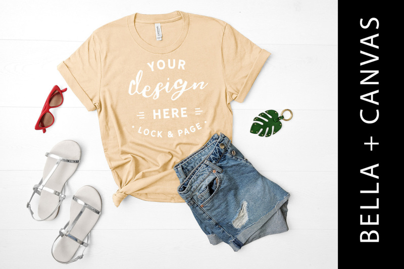 natural-bella-canvas-3001-tshirt-mockup-cream-t-shirt-flat-lay