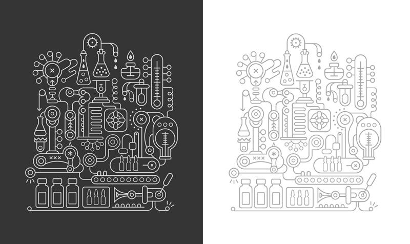 research-laboratory-equipment-vector-illustrations