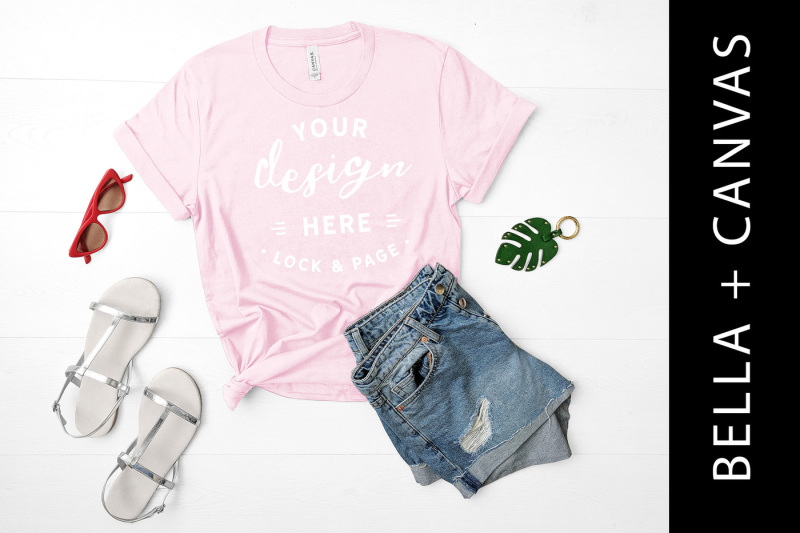 pink-bella-canvas-3001-t-shirt-mockup-fashion-flat-lay-rustic-wood