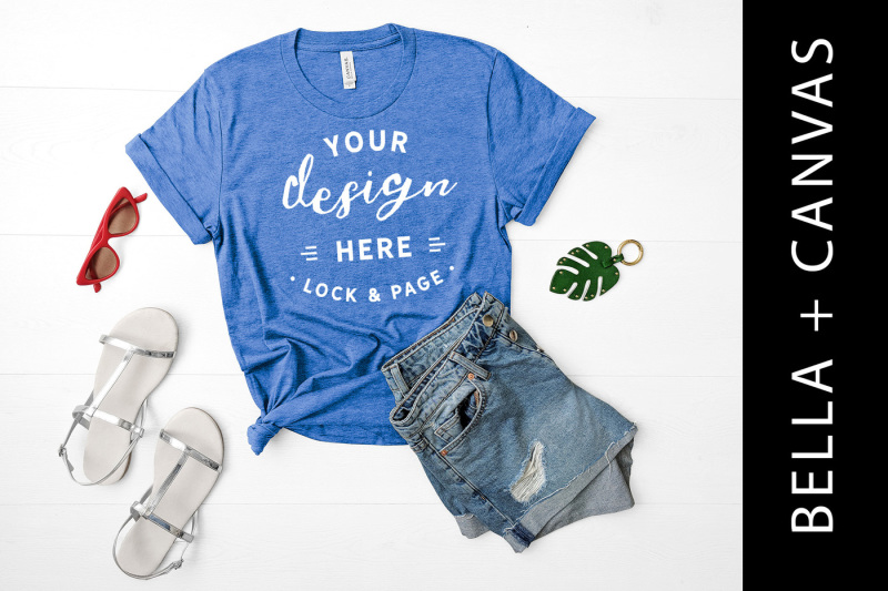 Free Heather True Royal Bella Canvas 3001 T Shirt Mockup Summer Flat Lay (PSD Mockups)