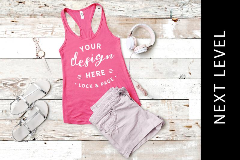 Free Hot Pink Next Level 1533 Tank Top Vest Mockup Summer (PSD Mockups)