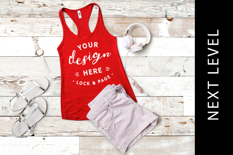 Free Red Next Level 1553 Tank Top Mockup Muscle Top Vest Flat Lay (PSD Mockups)