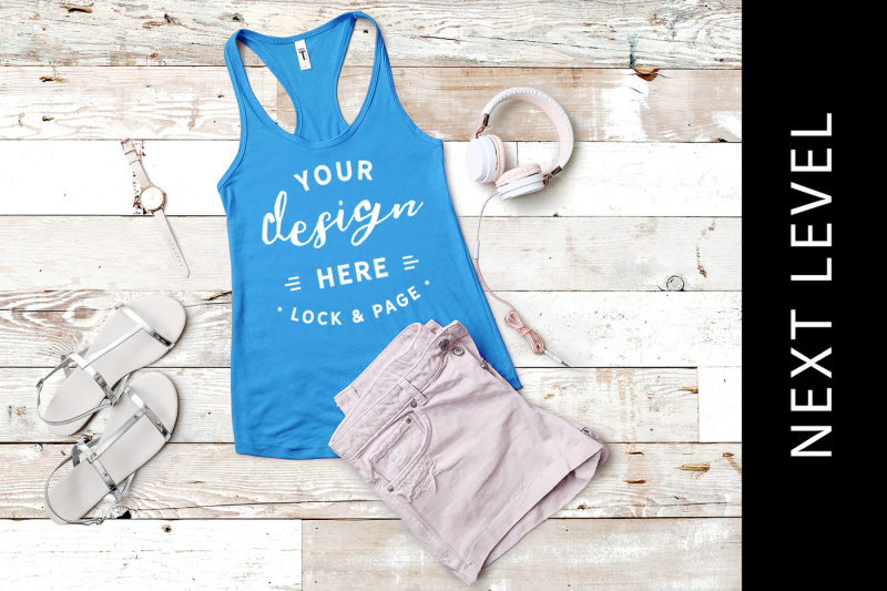 Free Turquoise Next Level 1533 Vest Mockup Tank Muscle Top (PSD Mockups)