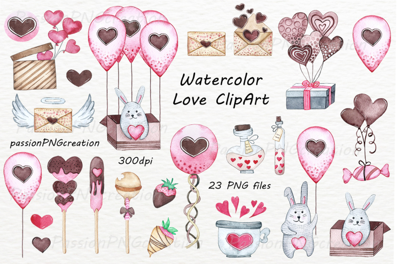 watercolor-love-clipart-set