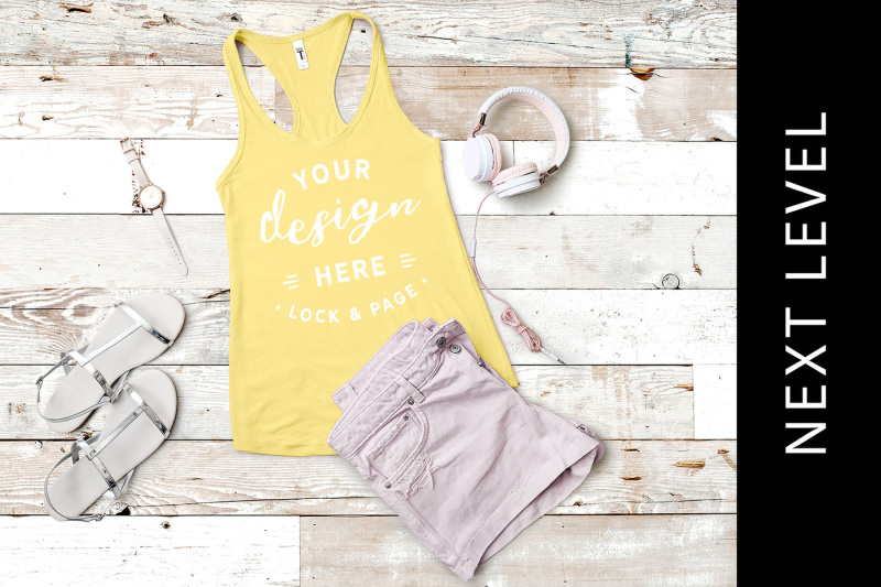 Free Banana Cream Next Level 1533 Tank Top Mockup Vest Muscle Top (PSD Mockups)