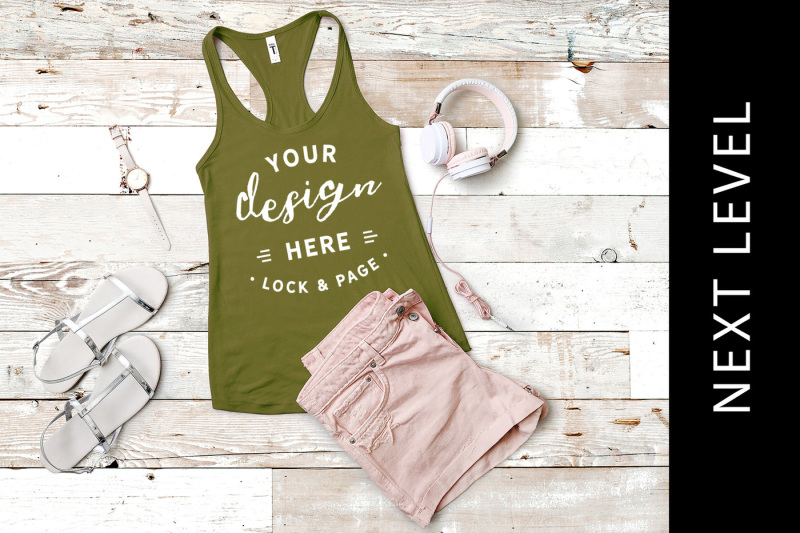 Free Military Green Next Level 1533 Vest Muscle Tank Top Summer Mockup (PSD Mockups)
