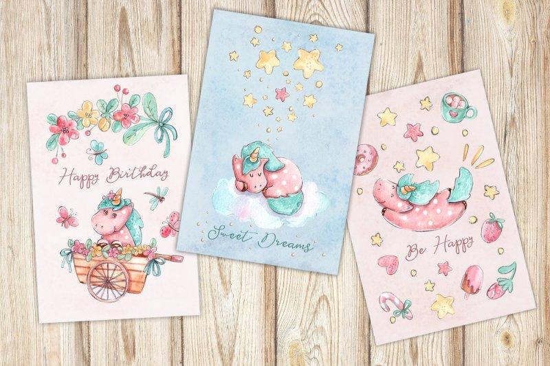 sweet-unicorns-set-6-patterns-3-greeting-cards