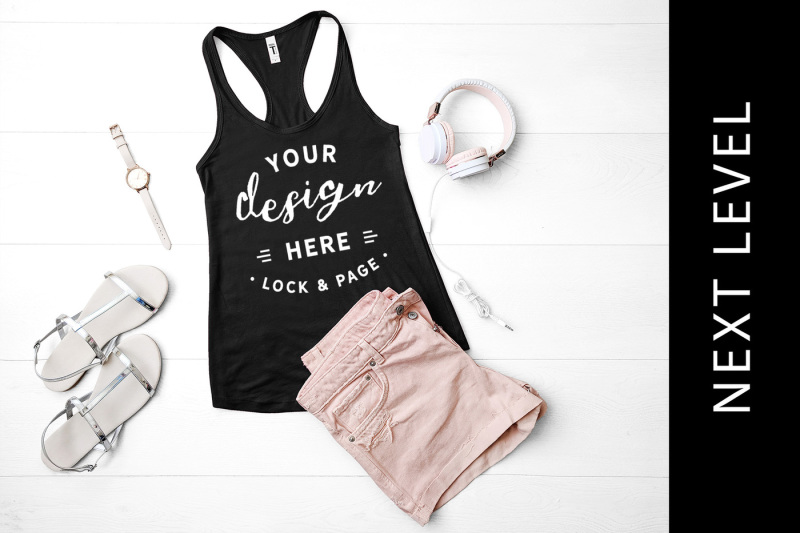 Free Black Next Level 1533 Tank Top Mockup Fashion Flat Lay (PSD Mockups)