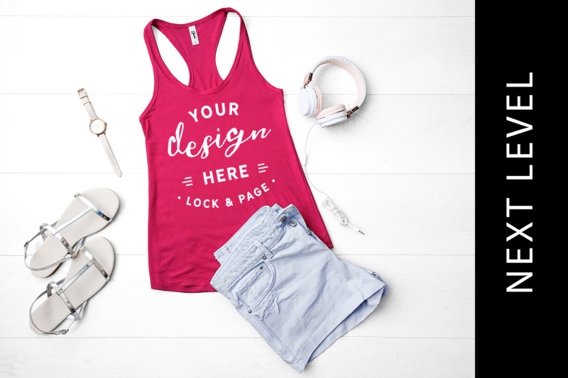 Free Raspberry Next Level 1533 Tank Top Mockup Keep Fit Gym Vest (PSD Mockups)