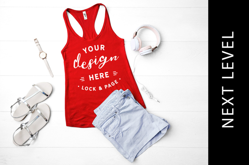 Free Red Next Level 1553 Tank Top Mockup Cute Muscle Top Vest Flat Lay (PSD Mockups)