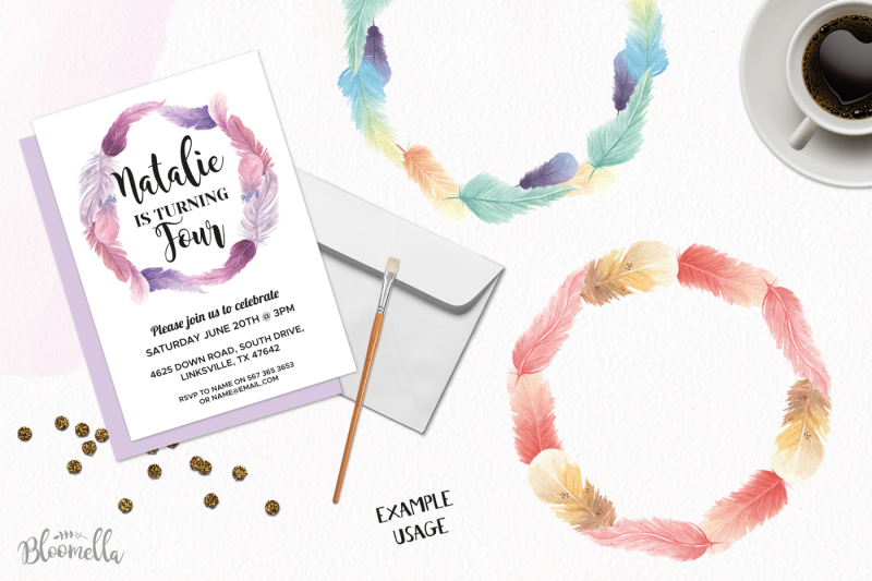 10-watercolor-feathers-wreaths-garlands-clipart-pretty-mix