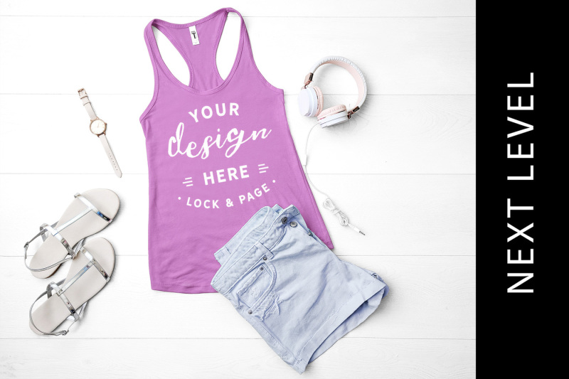 Free Lilac Next Level 1533 Tank Top Muscle Top Mockup Racerback Flat Lay (PSD Mockups)
