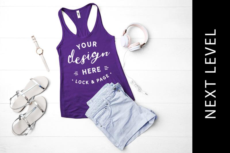 Free Purple Rush Next Level 1533 Tank Top Summer Fashion Mockup (PSD Mockups)