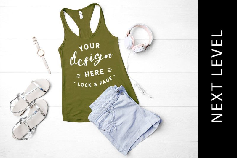 Free Military Green Next Level 1533 Vest Muscle Tank Top Beach Style Mockup (PSD Mockups)