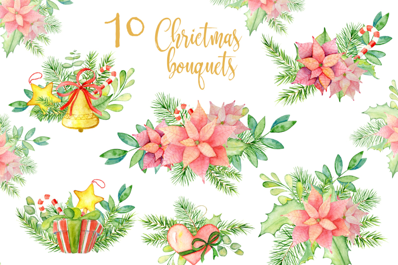 christmas-watercolor-bouquets