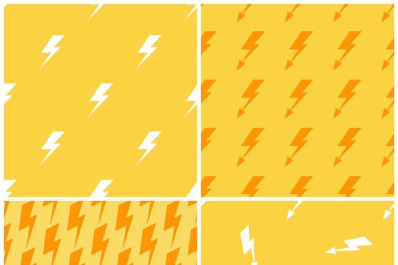 lightnings-vector-yellow-seamless-patterns-set