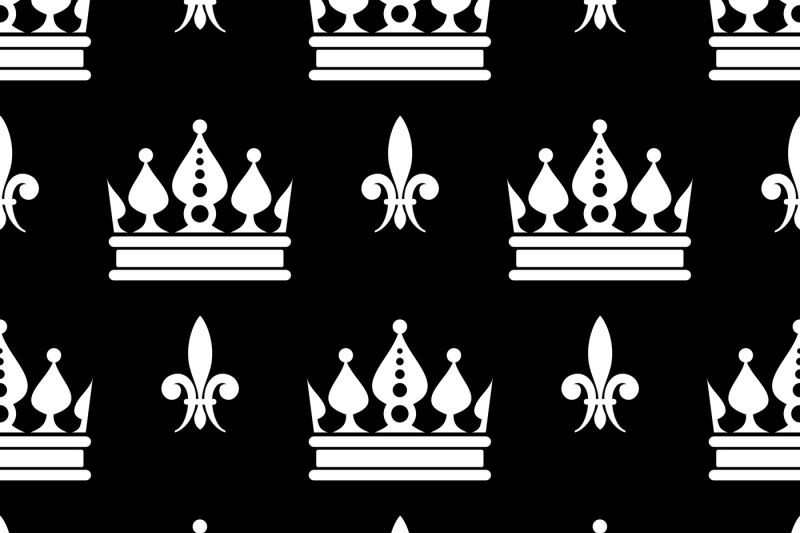 vector-crowns-fleur-de-lis-seamless-pattern-in-black-and-white