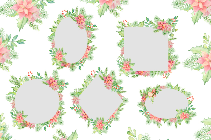 christmas-watercolor-frames-and-arrangements