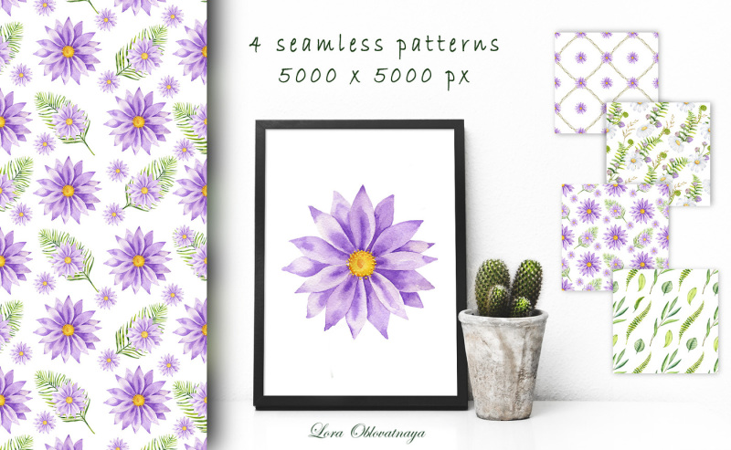 violet-wildflowers-watercolor-graphic-collection