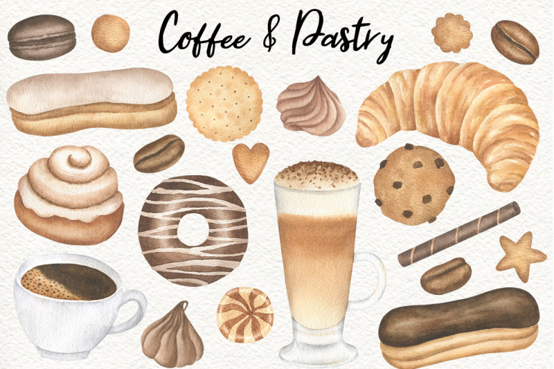coffee-and-bakery-watercolor-clipart-and-patterns-pastry-graphics