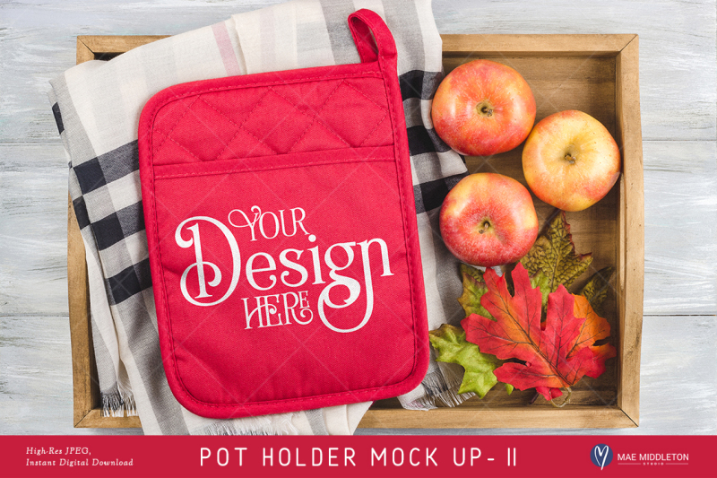 Free Pot Holder Mock up, Fall, Christmas, styled photo JPEG (PSD Mockups)