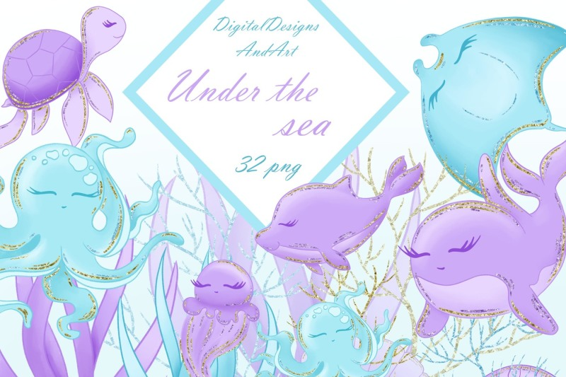 sea-animals-in-blue-and-purple