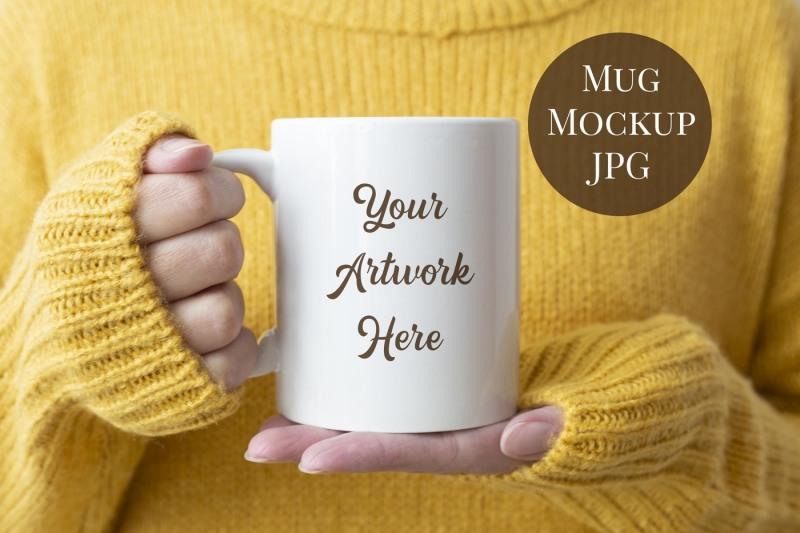 Free Mug Mockup - Woman holding mug (PSD Mockups)