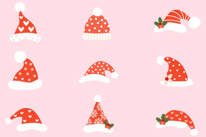 hipster-santa-hats-clipart-cute-santa-claus-hat-clip-art-christmas