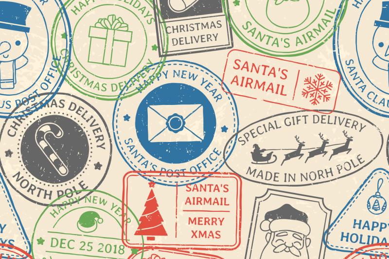 christmas-postal-pattern-santa-claus-postmark-cachet-winter-holiday