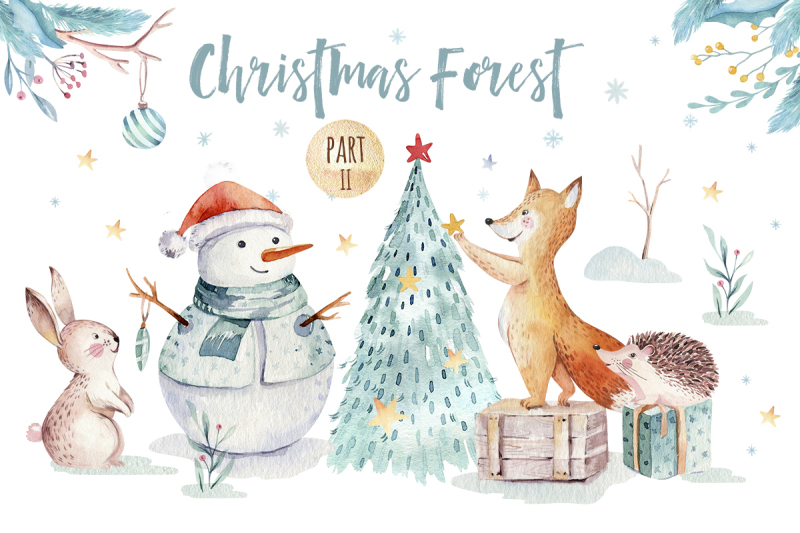 watercolor-christmas-forest-ii